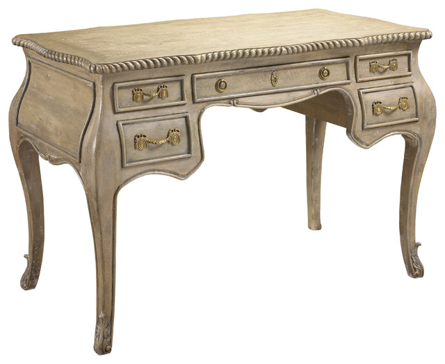 French Heritage Pompidour Desk, Salvage Grey.