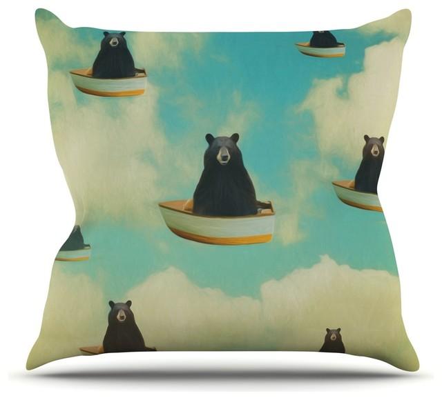 """Natt """"bears"""" Floating Animals Throw Pillow, Indoor, 16""""x16""""."""