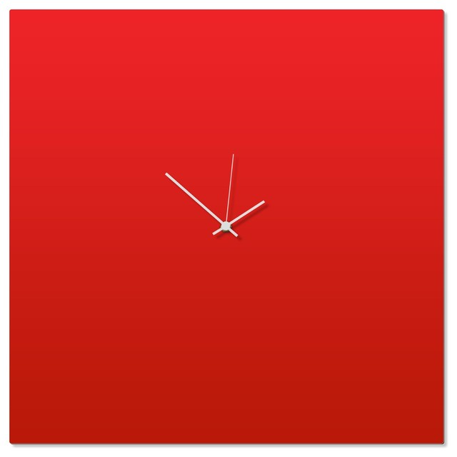 Contemporary Clock Redout White Square Large Artistic Red Kitchen