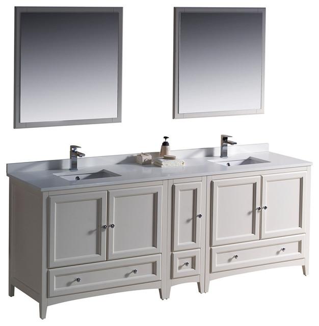 Fresca Oxford 84 Antique White Traditional Double Sink Bathroom Vanity.