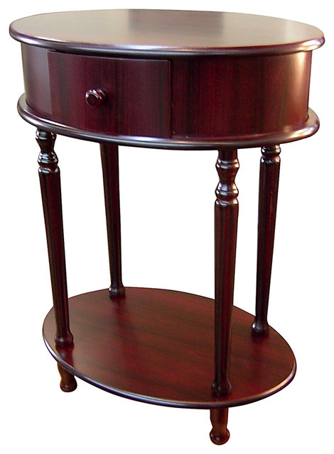 Oval Shape Side Table In Cherry Finish.