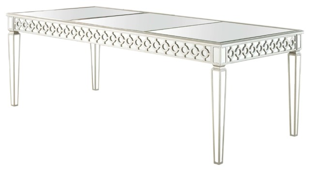 Sophie silver mirrored dining room table contemporary dining sophie silver mirrored dining room table watchthetrailerfo