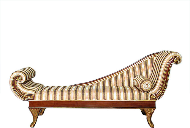 7.5Ft Solid Mahogany U0026 Gold Victorian Chaise Lounge W/ Pillow