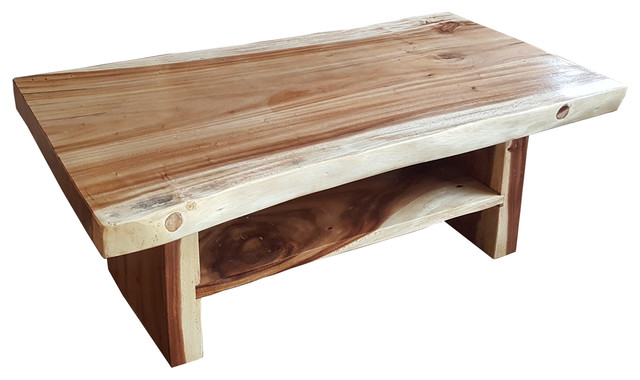 Suar Coffee Table With Shelf Beach Style Coffee Tables By Chic Teak