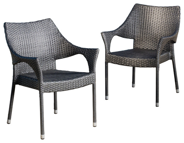 Alameda Outdoor Chairs Set of 2 Contemporary Outdoor Dining Chairs by