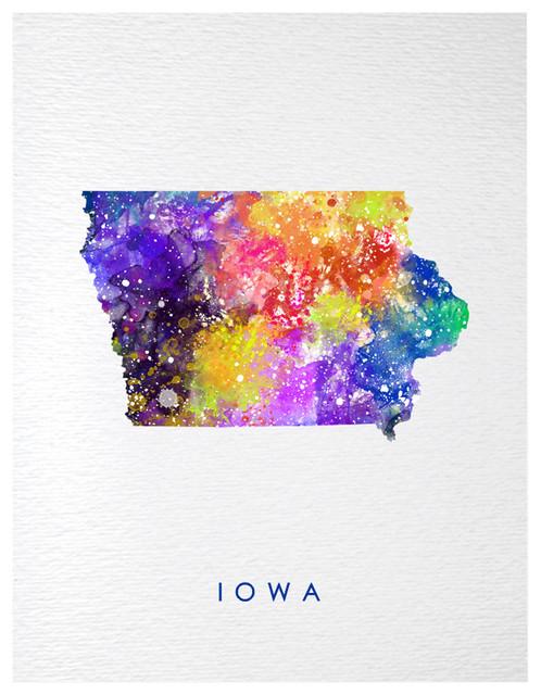 Iowa Map Usa States Map America Contemporary Watercolor Art Print