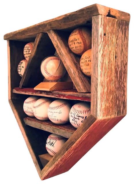 home plate baseball display case rustic display and wall shelves rh houzz com baseball hat display shelves Baseball Cap Display Shelf