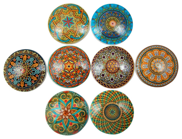 High Quality Oriental Mandalas Oversized Cabinet Knobs, 8 Piece Set Mediterranean Cabinet  And