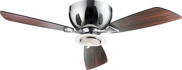 One Light Chrome Hugger Ceiling Fan.