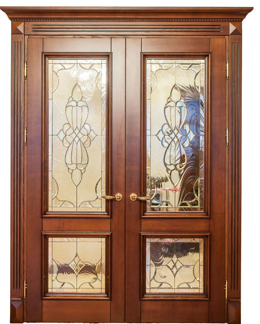 Roma Solid Alder Wood Double Door With Glass Traditional Front