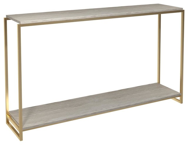 Federico Narrow Console Table, Weathered Oak, Brass Accent
