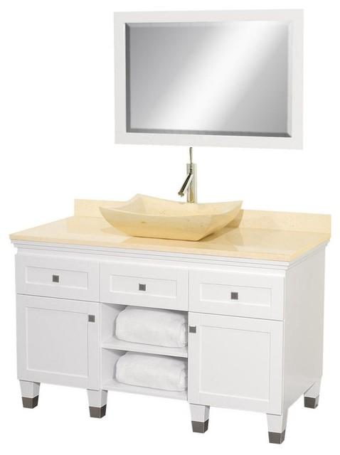 Eco Friendly Modern Bathroom Vanity With Ivory Marble Sink