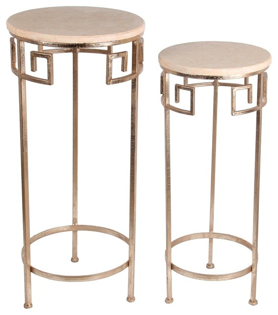 zeckos 2 piece gold finish metal and marble round accent