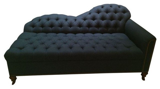Navy blue tufted chaise or lounge traditional sofas for Blue leather chaise lounge