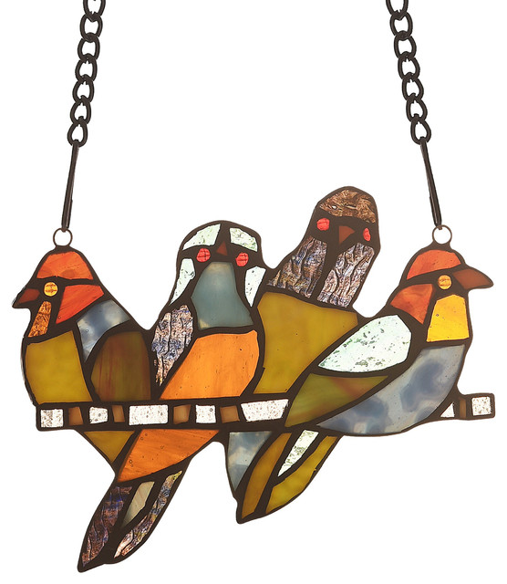 "CHLOE-Lighting STARLING Animal Tiffany-glass Window Panel 8"" Wide"