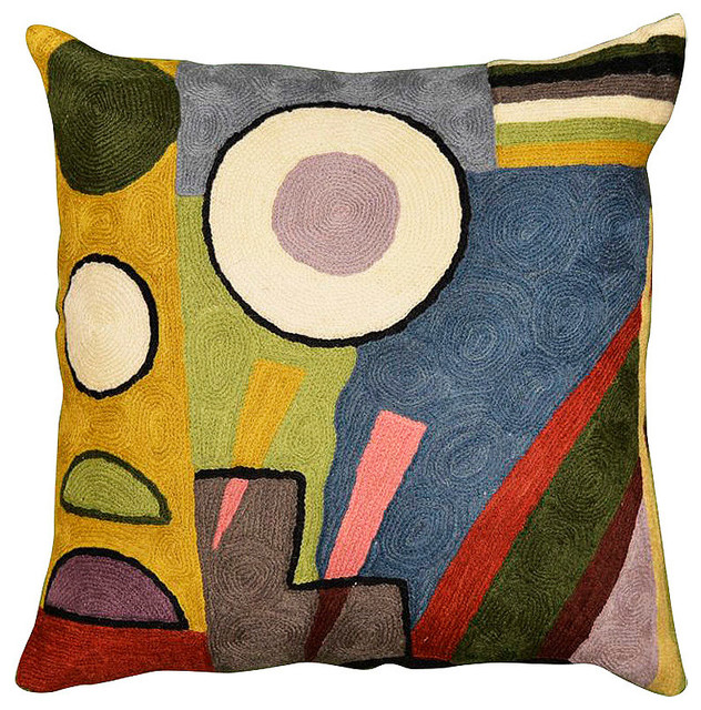 """Kandinsky Composition Vi Cushion Cover Hand Embroidered 18"""" X 18""""."""