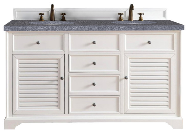 Savannah 60 double vanity cabinet cottage white beach style bathroom vanities and sink for Cottage style bathroom vanities cabinets