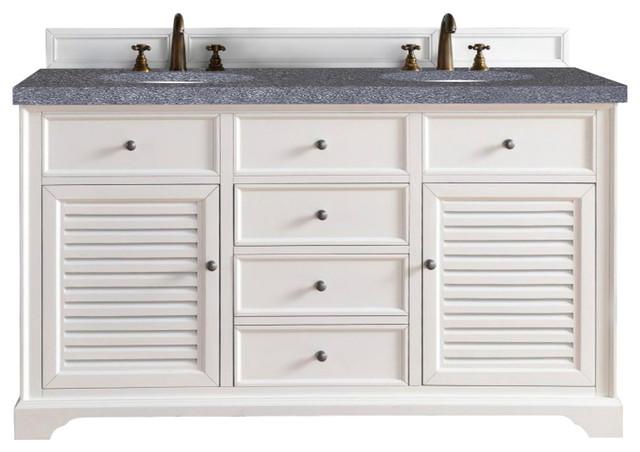 Savannah 60 Double Vanity Cabinet Cottage White Beach Style Bathroom Vanities And Sink