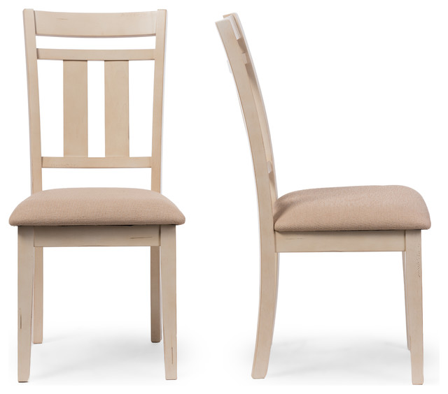 Roseberry French Antique Oak And Distressed White Dining Side Chair Set Of 2