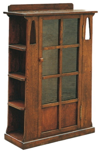 arts and crafts mission oak bookcase with cut outs and side shelves rh houzz com arts and crafts floating shelves arts and crafts bookshelves