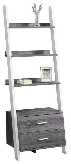 Monarch Gray And White Particle Board And Mdf Bookcase.