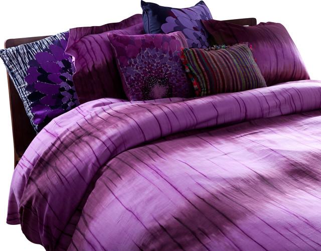 Duvet Set Merlot Stripe Dye Contemporary Duvet