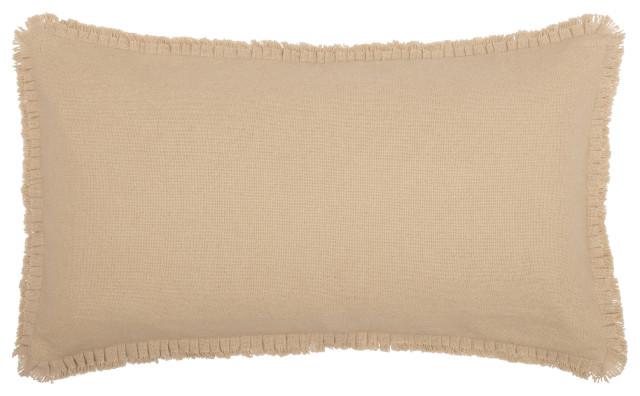 VHC Farmhouse Euro Sham Fringed Ruffle Bedding Burlap Natural Tan Cotton Burlap