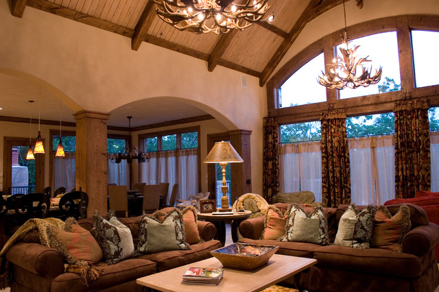 Beautiful Lodge Style Lake House Mediterranean Living Room