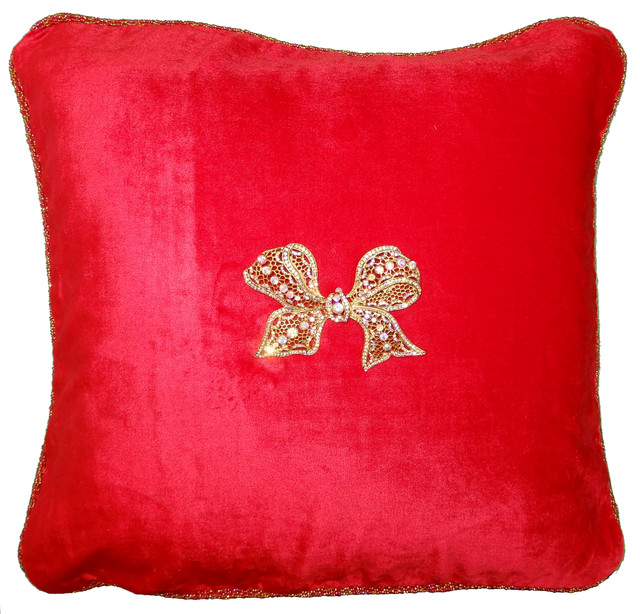 Red Velvet Square Beaded Holiday-Christmas Pillow With Removable Custom Jewels