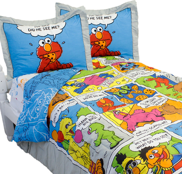 Sesame Street Full Bedding Set Elmo Comic Strip Bedding Traditional Kids  Bedding
