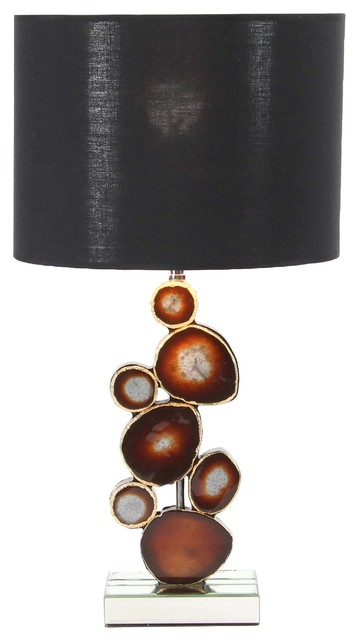 Merveilleux Modern Mirrored Wooden Table Lamp With Resin Montage Design, Brown