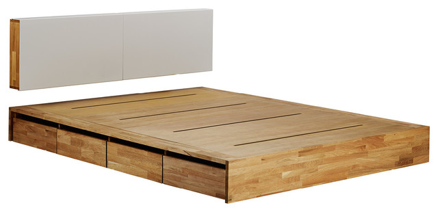 Mash Lax Platform Solid Wood Storage Bed King With Headboard