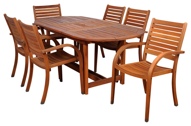 Burnham 9-Piece Wooden Outdoor Dining Set.
