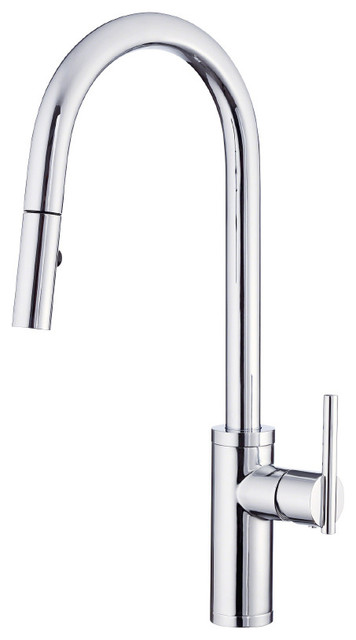 Danze D454058 Parma Cafe Single Handle Pull Down Spray Kitchen Faucet With Snap Contemporary Kitchen Faucets By Buildcom Houzz