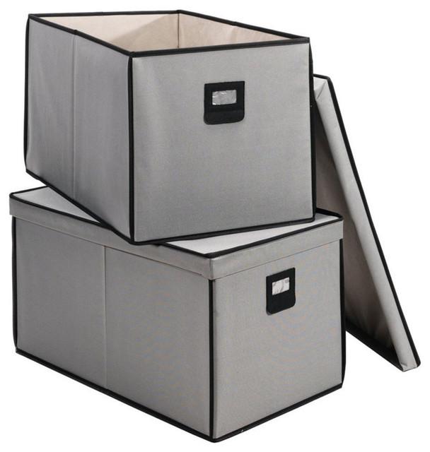 Merveilleux Gray Polyester Canvas Storage Boxes With Lid And Clear Pocket, Set Of 2