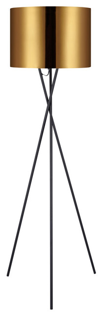 Versanora Cara Tripod Floor Lamp, Gold Shade, 62.2.