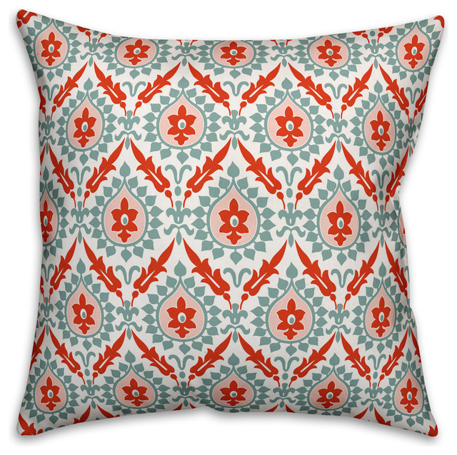 Ikat, Blue and Red Throw Pillow Cover Cover   Contemporary
