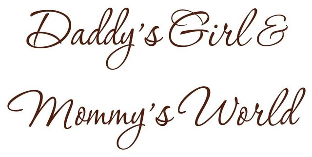 VWAQ Daddy\'s Girl and Mommy\'s World Brown Nursery Wall Decal Quote Decal -V3