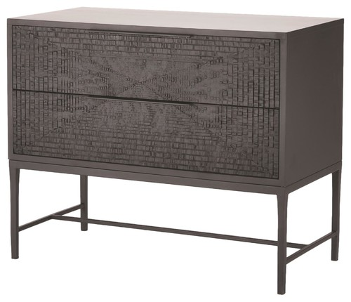 Textured Black Carved Wood 2 Drawer Chest, Accent Console Elegant Minimalist