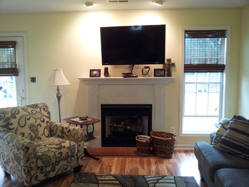 Painting wood fireplace