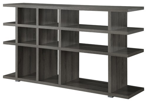 Contemporary Bookcase Bookshelf Console Table Stand Shelves Wood Weathered Grey