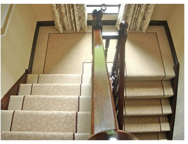 Delicieux STONEGATE CARPETS FULLY FITTED STAIR CARPET WITH CUSTOM BORDER AND STRIPE  Traditional