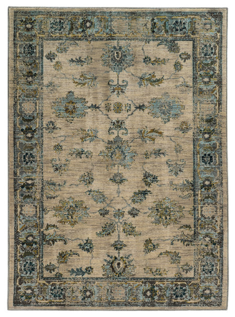 """Casa Faded Traditional Ivory and Blue Rug, 3'10""""x5'5"""""""