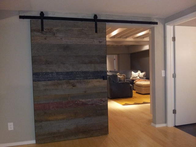 rustic man cave garage ideas - Barn wood accent wall and sliding door Rustic