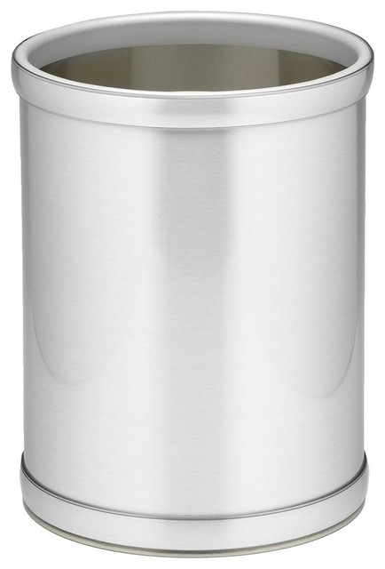 Mylar 10 in round wastebasket in brushed chrome contemporary wastebaskets by shopladder - Modern wastebasket ...
