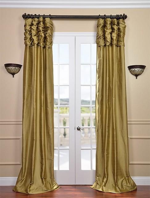 Ruched Gold Dust Thai Silk Curtain Traditional Curtains