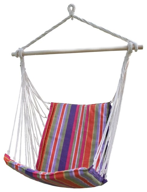 Shop houzz adeco trading cotton fabric hanging chair for Fabric hammock chair