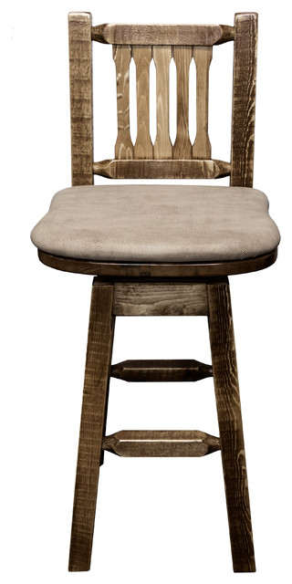 Barstool Back And Swivel Stain And Clear Finish