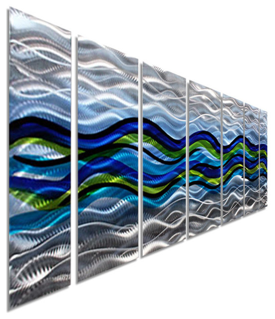 """Large Silver, Blue And Green Abstract Metal Wall Art Sculpture, 68""""x24""""."""