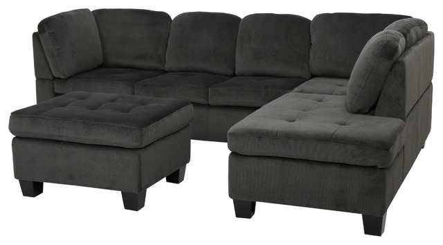 gotham charcoal fabric sectional sofa 3piece set sofas